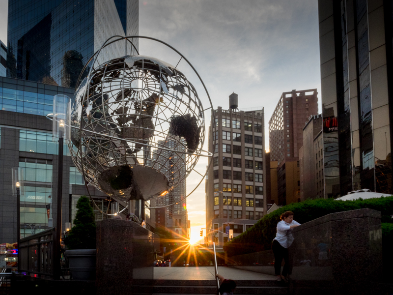 columbus circle sunset, new york, Megan Crandlemire Photography