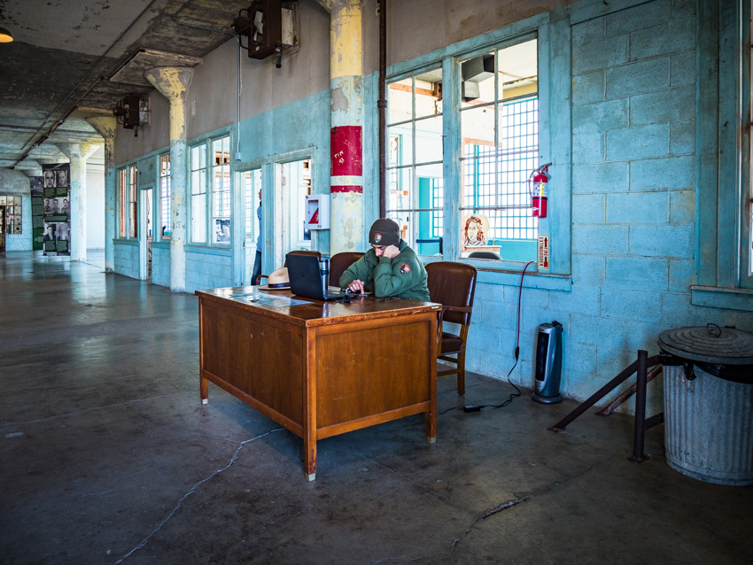 alcatraz laptop inside building