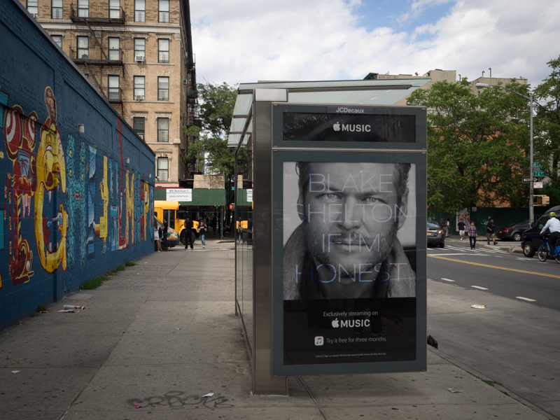 east village blake shelton billboard, apple music, Megan Crandlemire Photography