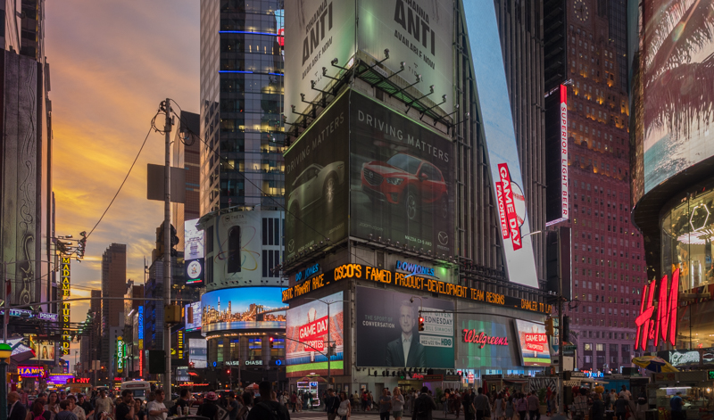times square sunset, Megan Crandlemire Photography