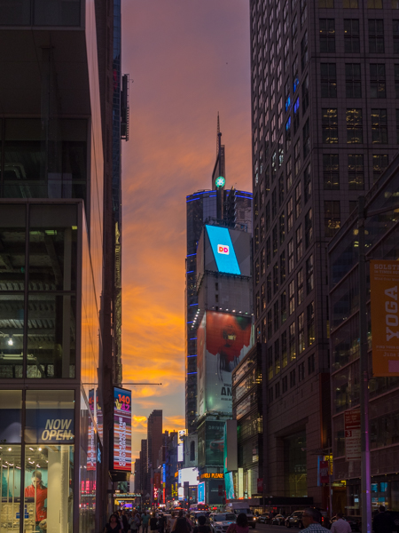 sunset times square new york, Megan Crandlemire Photography